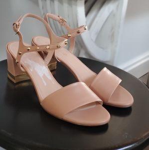 Stuart Weitzman MyGal Nude Studded Leather Sandals
